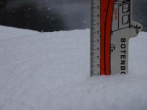 Sneeuwhoogte op het dek 2 dagen voor we aankwamen